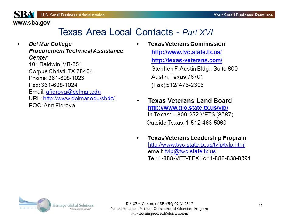 Texas Area Local Contacts - Part XVI