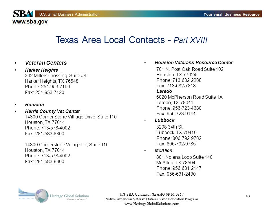 Texas Area Local Contacts - Part XVIII