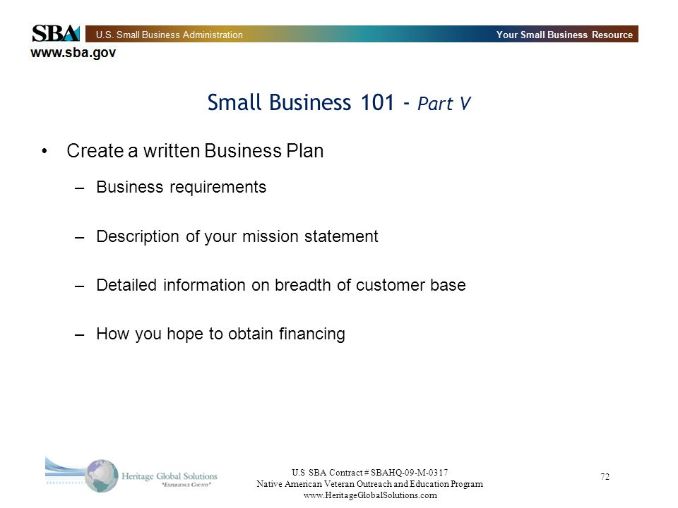 Small Business 101 - Part V Create a written Business Plan