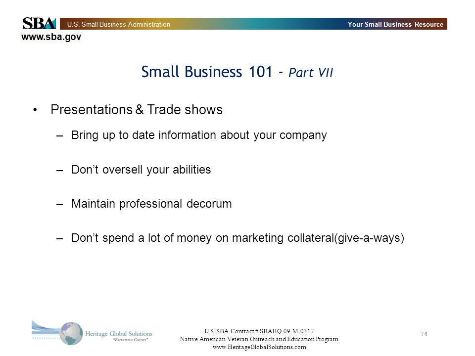 Small Business 101 - Part VII