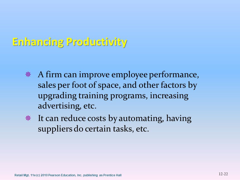 Enhancing Productivity