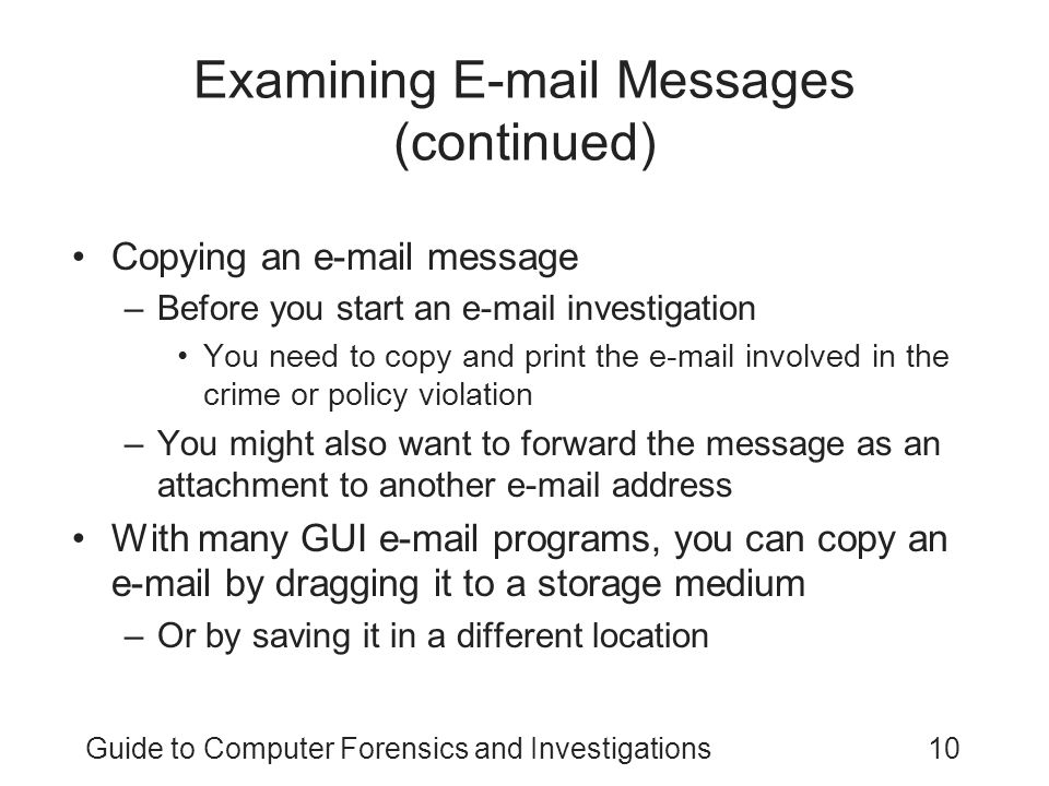 Examining E-mail Messages (continued)