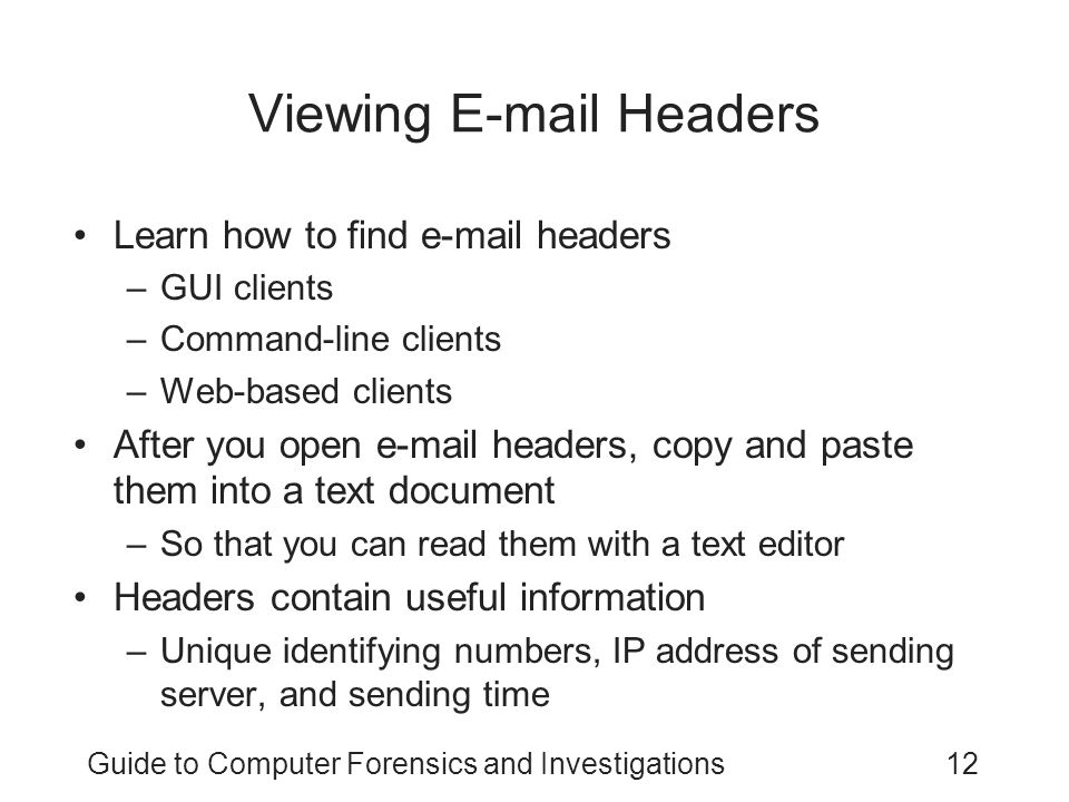 Viewing E-mail Headers