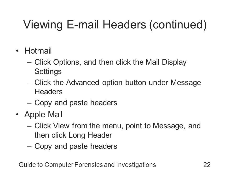 Viewing E-mail Headers (continued)