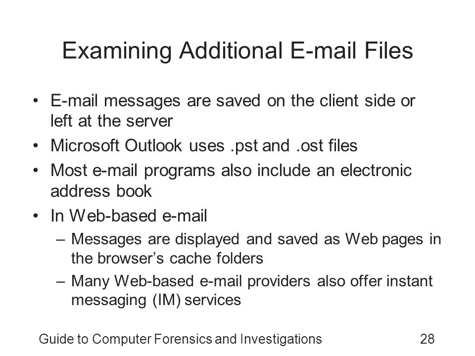 Examining Additional E-mail Files