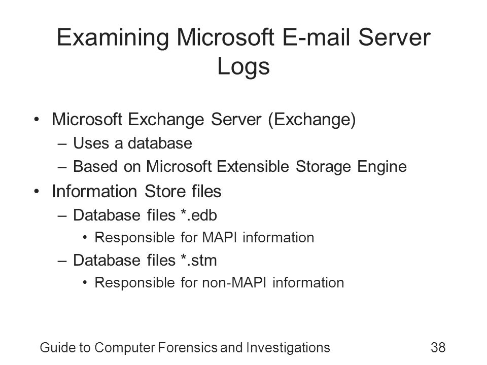 Examining Microsoft E-mail Server Logs