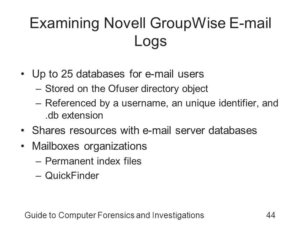 Examining Novell GroupWise E-mail Logs