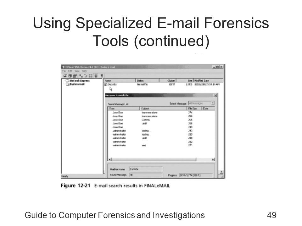 Using Specialized E-mail Forensics Tools (continued)
