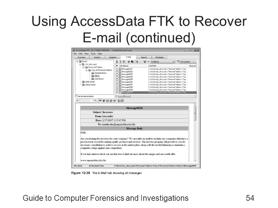 Using AccessData FTK to Recover E-mail (continued)