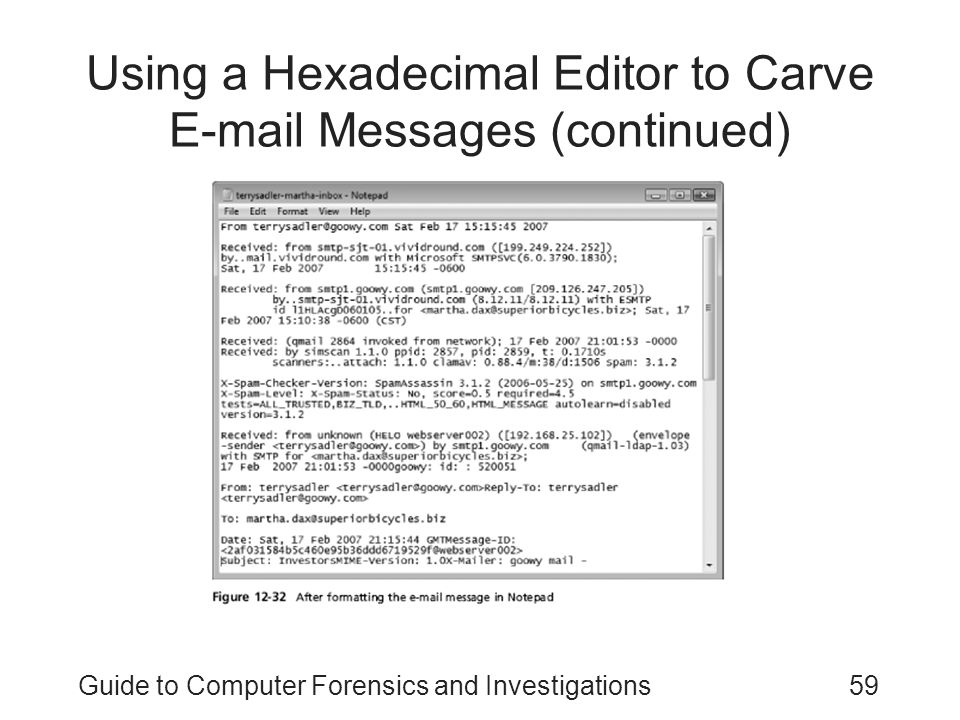 Using a Hexadecimal Editor to Carve E-mail Messages (continued)