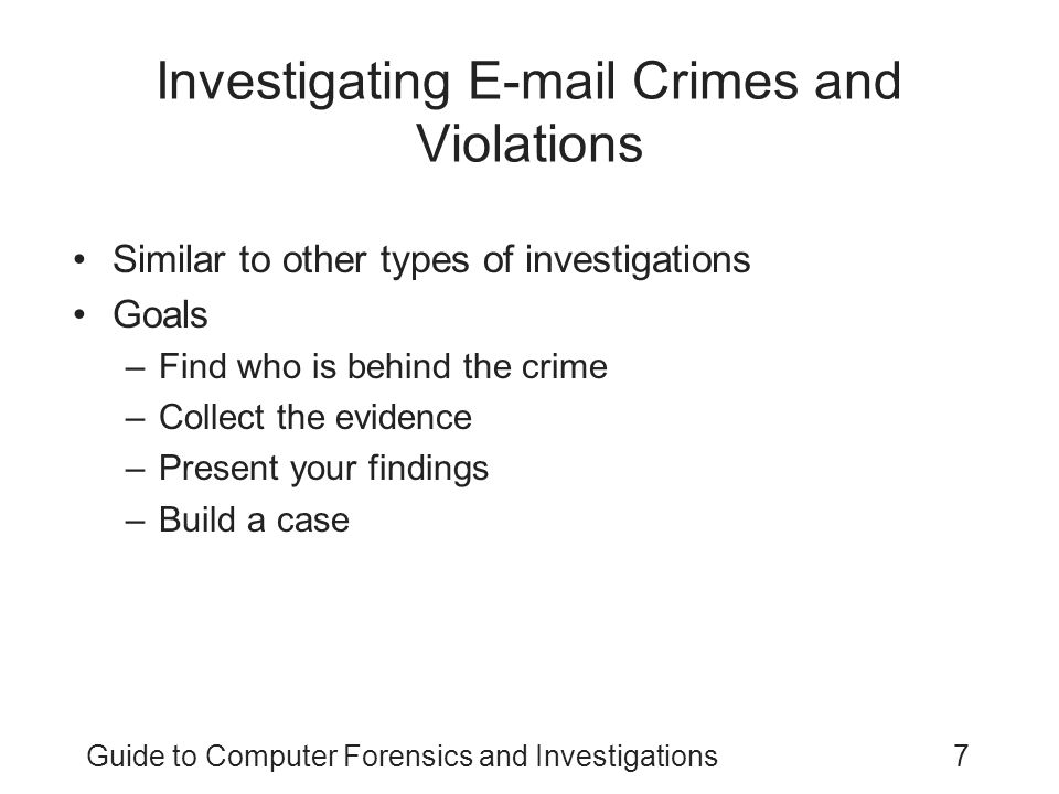 Investigating E-mail Crimes and Violations