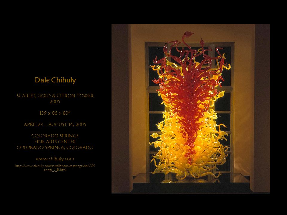 Dale Chihuly SCARLET, GOLD & CITRON TOWER 2005 139 x 86 x 80