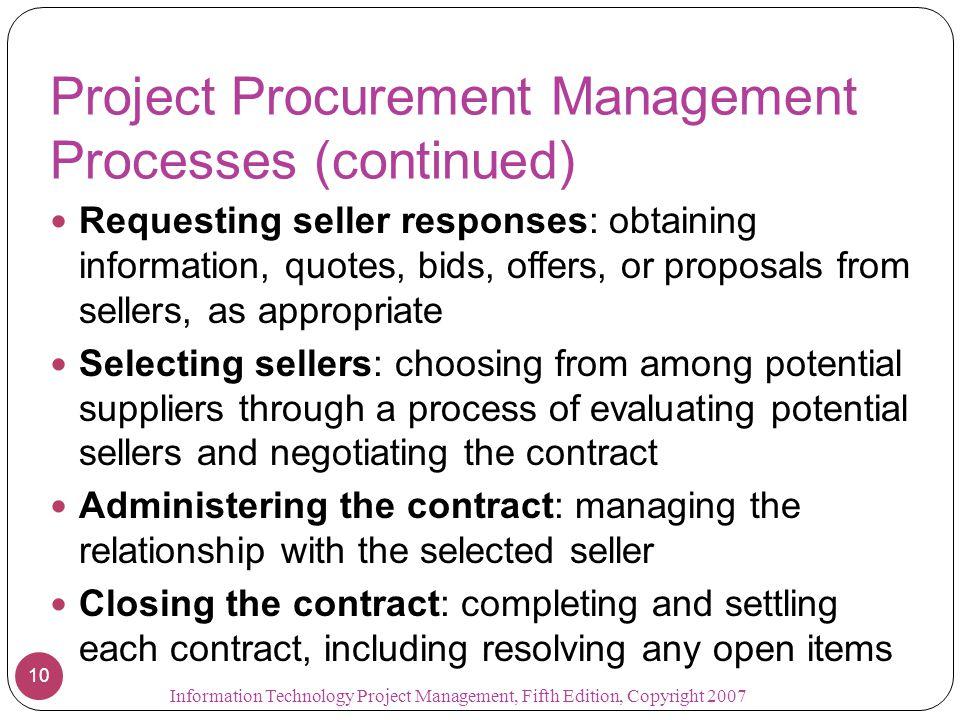 Project Procurement Management Processes (continued)