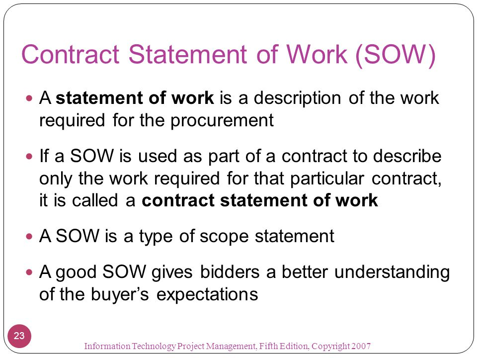 Contract Statement of Work (SOW)