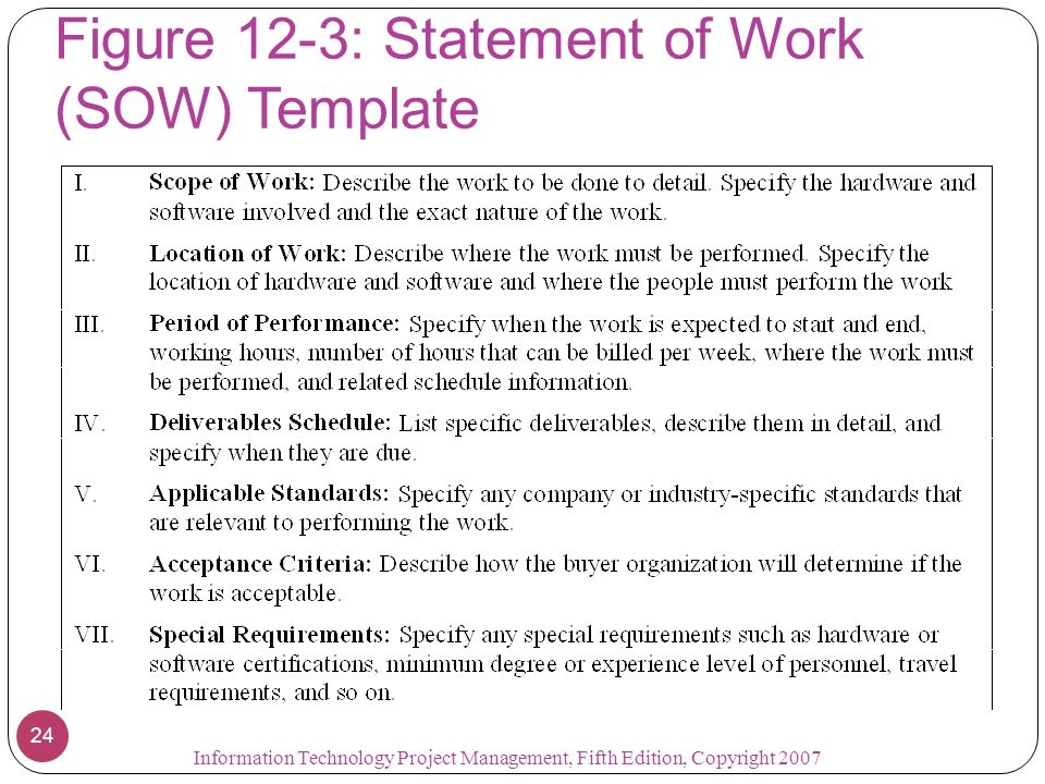 Figure 12-3: Statement of Work (SOW) Template