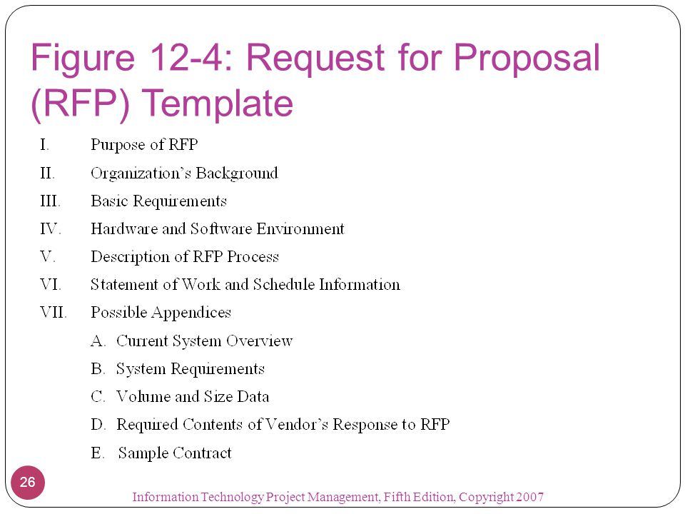 Figure 12-4: Request for Proposal (RFP) Template