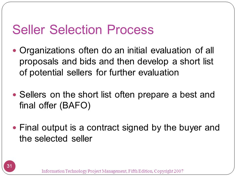 Seller Selection Process