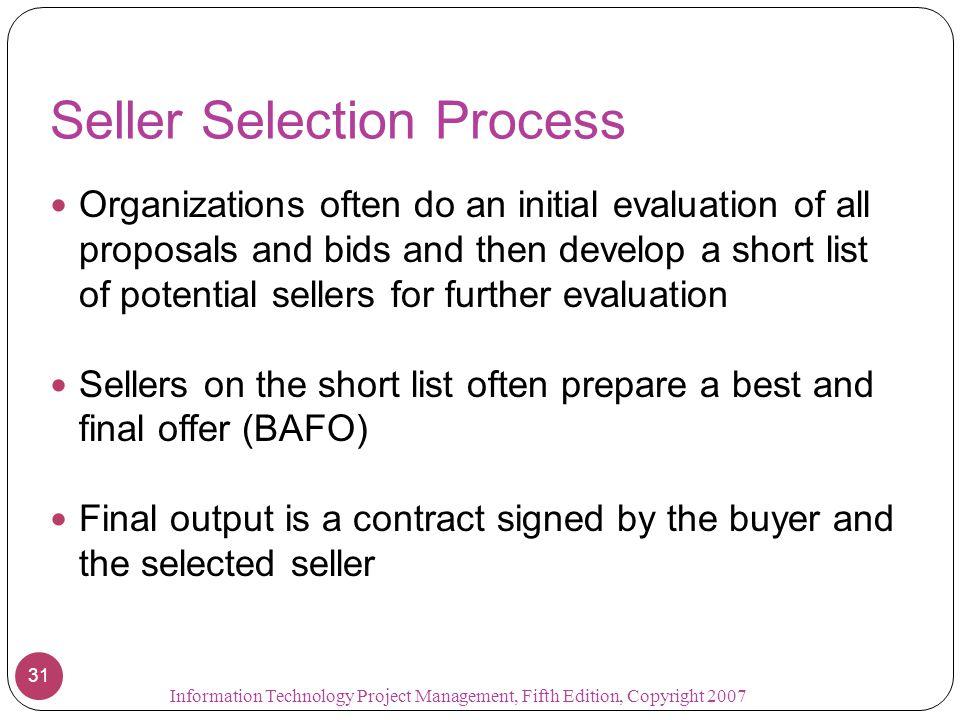 Seller Selection Process