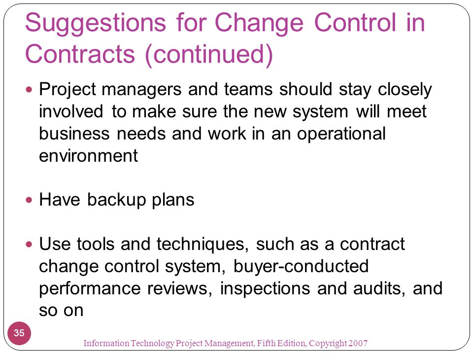 Suggestions for Change Control in Contracts (continued)