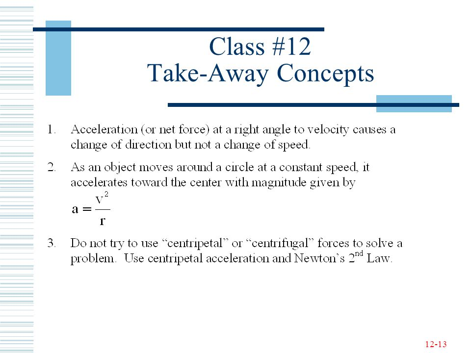 Class #12 Take-Away Concepts