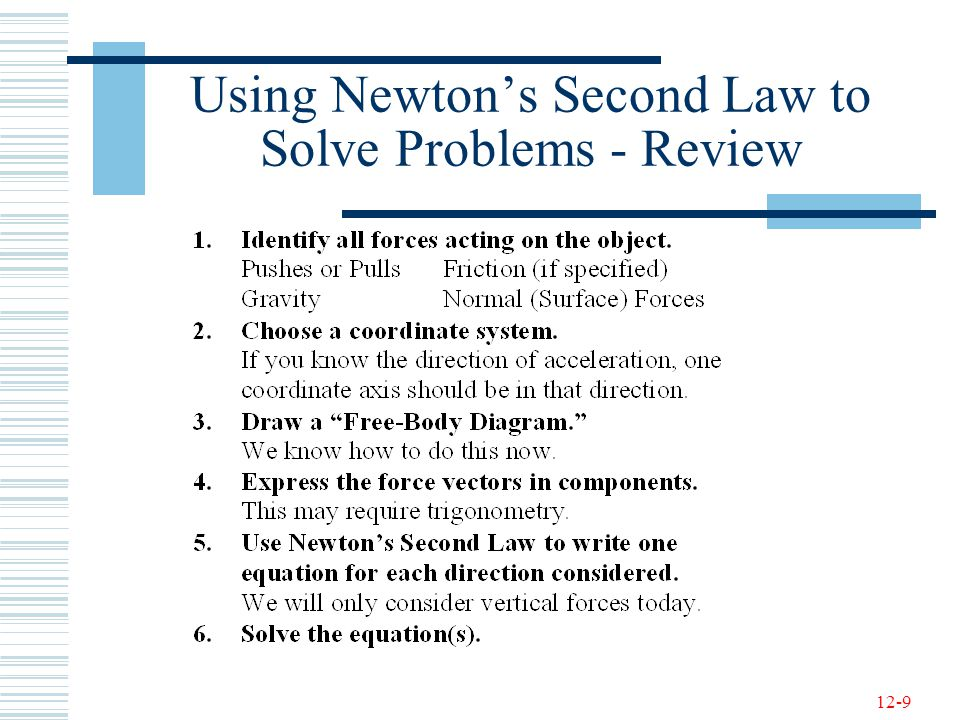 Using Newton's Second Law to Solve Problems - Review