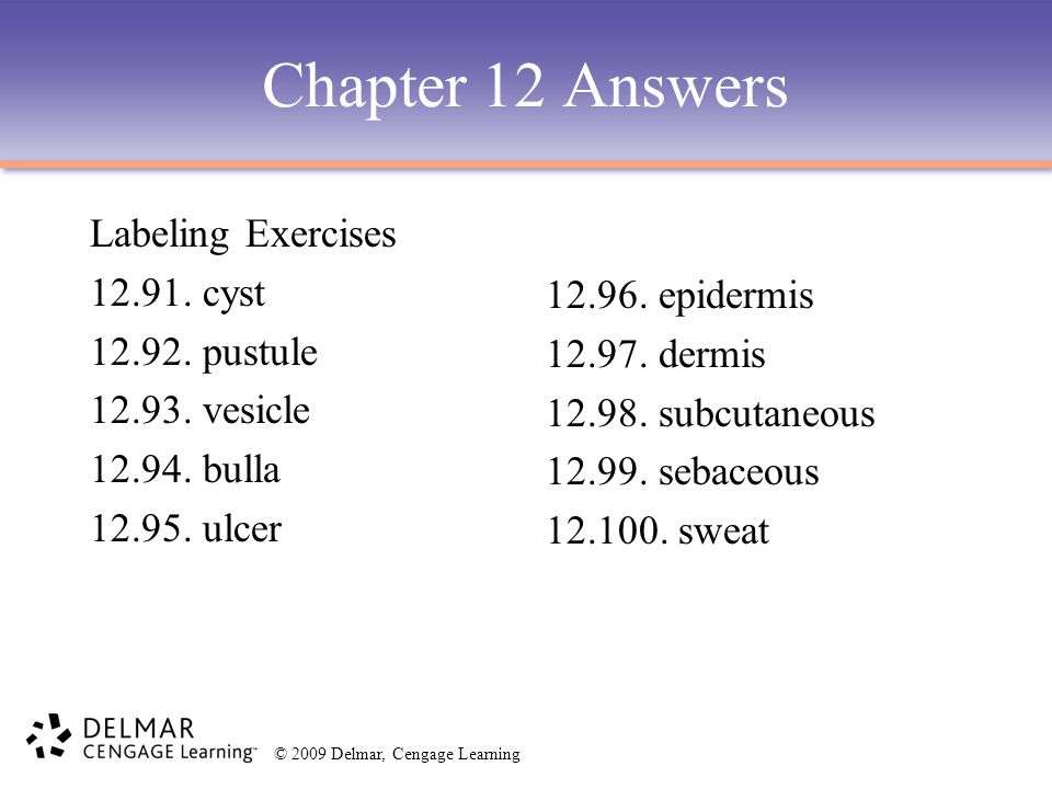 Chapter 12 Answers Labeling Exercises 12.91. cyst 12.92. pustule