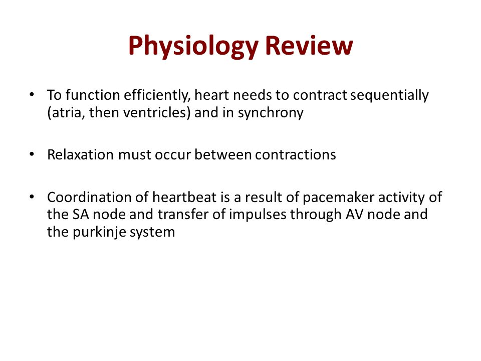Physiology Review To function efficiently, heart needs to contract sequentially (atria, then ventricles) and in synchrony.