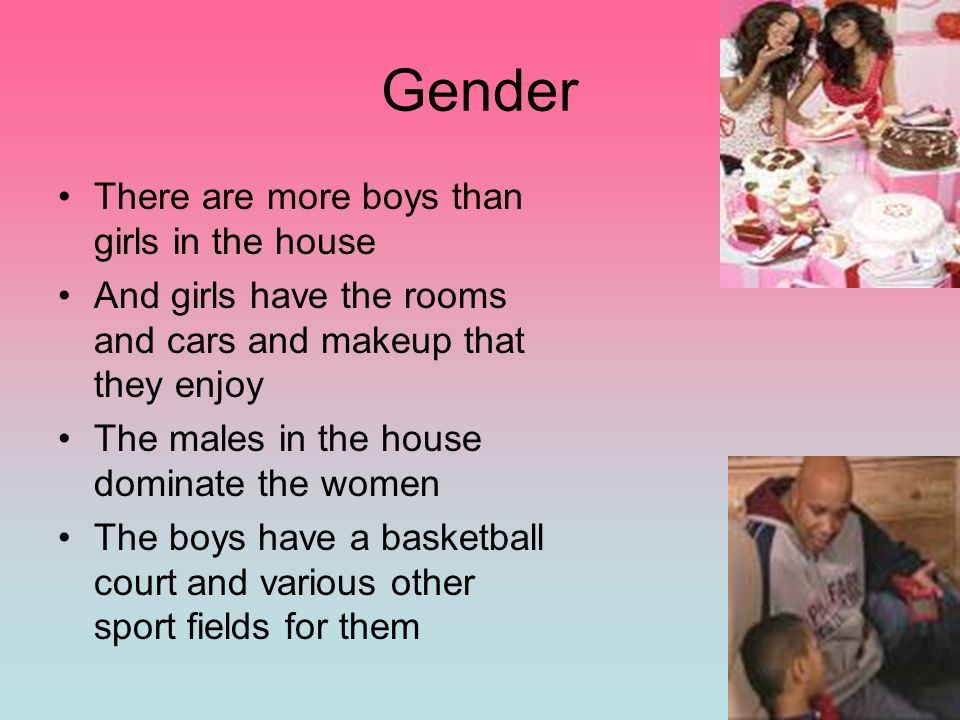 Gender There are more boys than girls in the house
