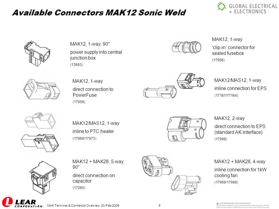 Available Connectors MAK12 Sonic Weld