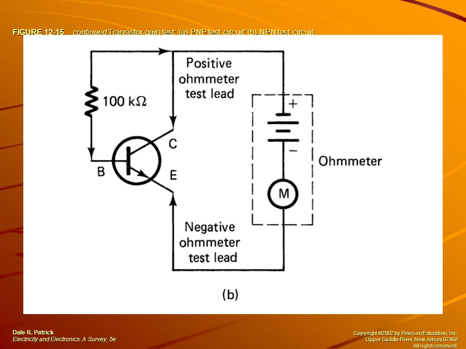 FIGURE 12-15 continued Transistor gain test: (a) PNP test circuit; (b) NPN test circuit.