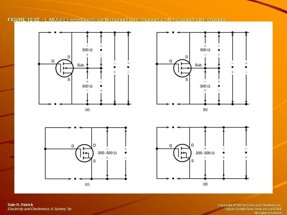 FIGURE 12-32 E-MOSFET resistances: (a) N-channel; (b) P-channel; (c) N-1 channel; (d) P-channel.