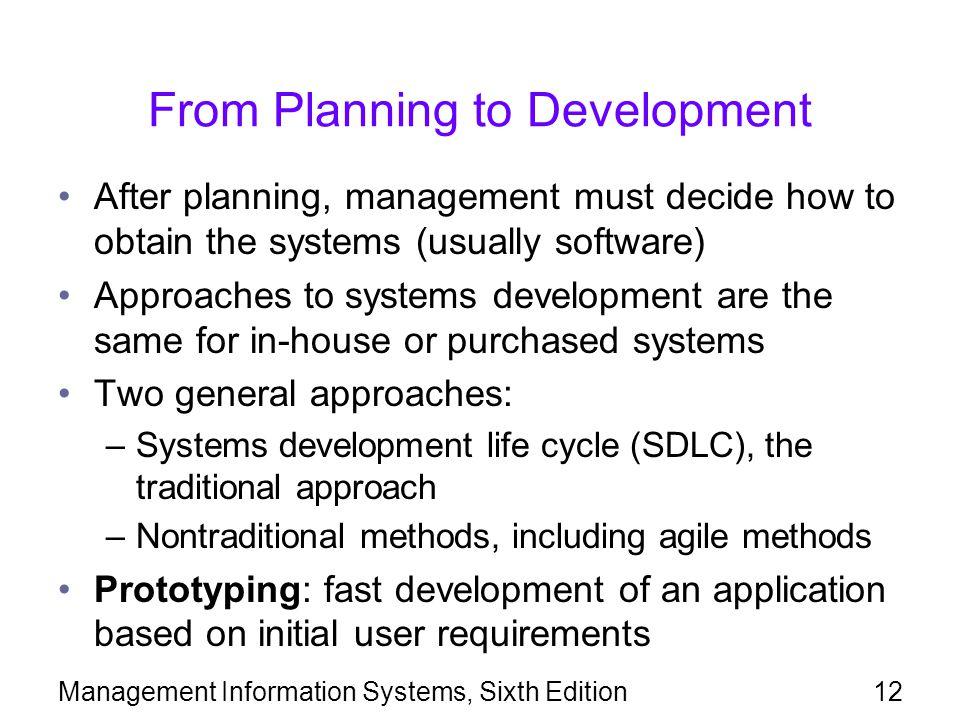 From Planning to Development