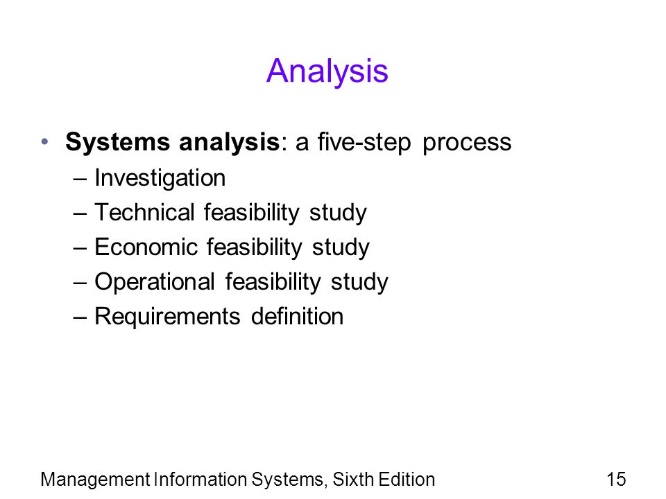 Analysis Systems analysis: a five-step process Investigation