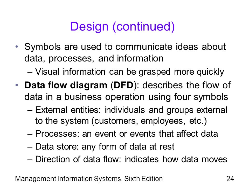 Design (continued) Symbols are used to communicate ideas about data, processes, and information. Visual information can be grasped more quickly.