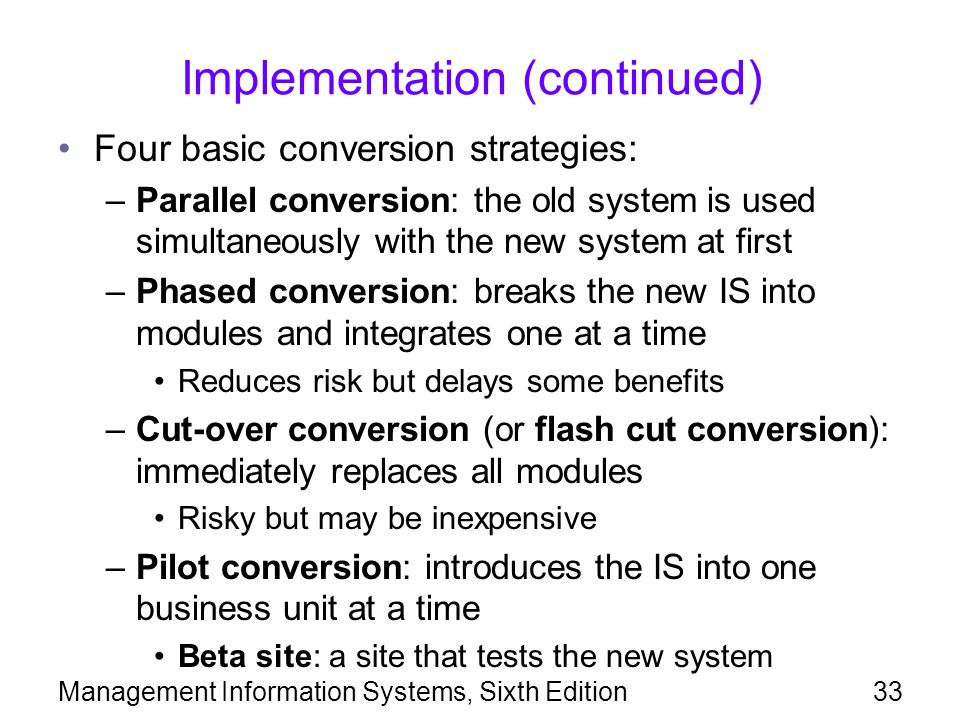 Implementation (continued)