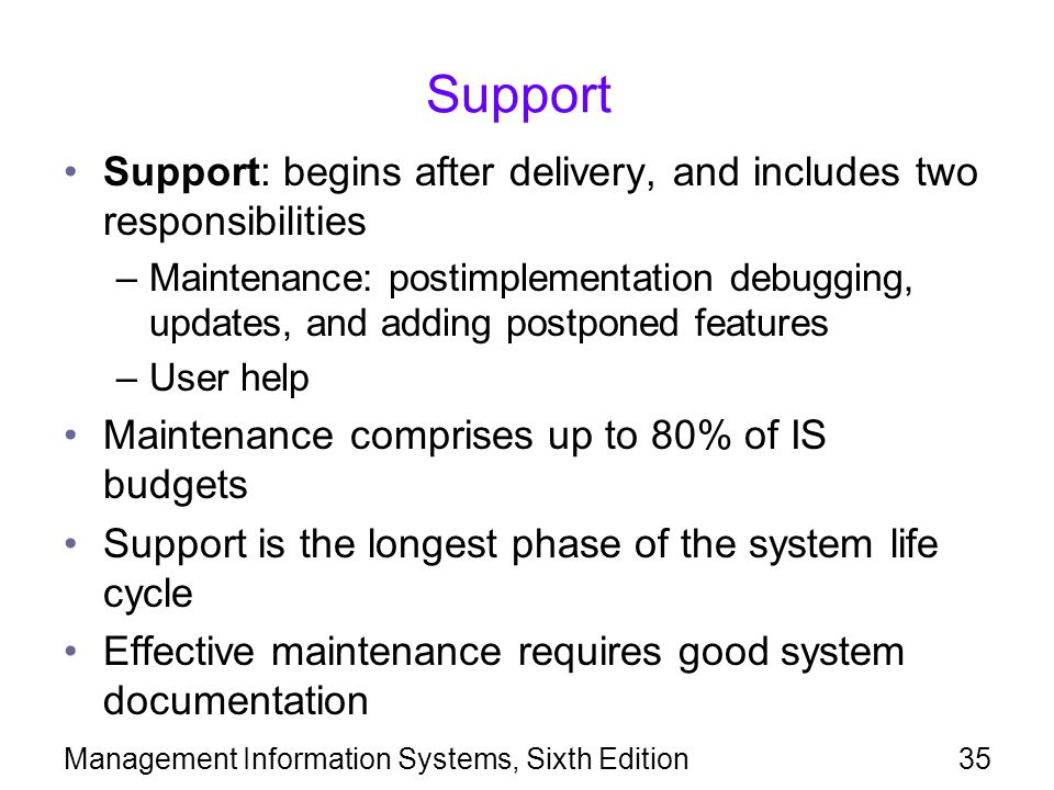Support Support: begins after delivery, and includes two responsibilities.