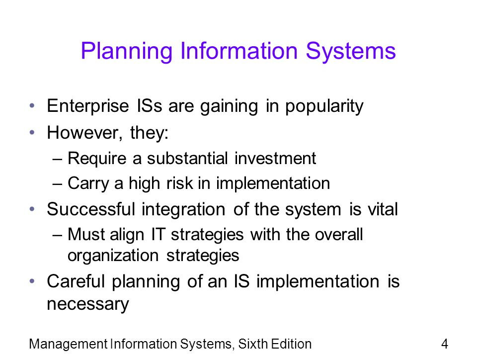 Planning Information Systems