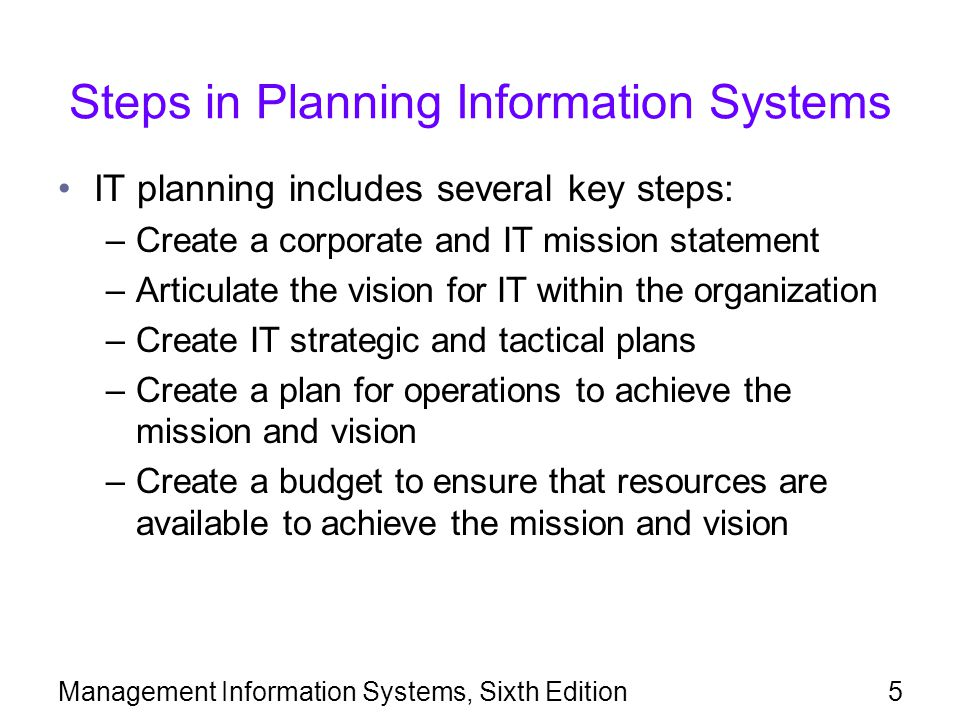 Steps in Planning Information Systems