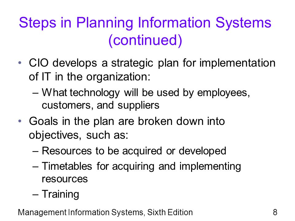 Steps in Planning Information Systems (continued)