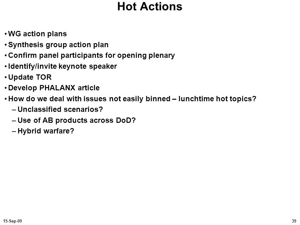 Hot Actions WG action plans Synthesis group action plan