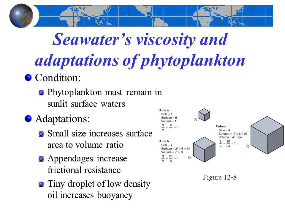 Seawater's viscosity and adaptations of phytoplankton