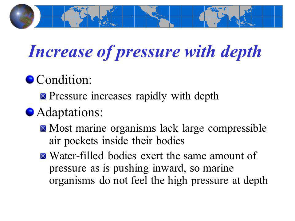 Increase of pressure with depth