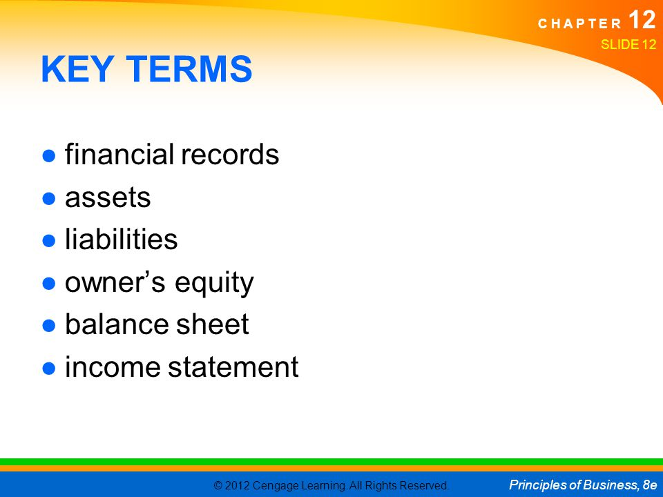 KEY TERMS financial records assets liabilities owner's equity