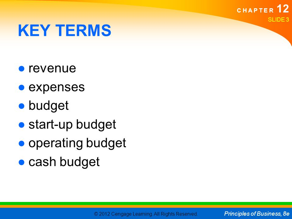KEY TERMS revenue expenses budget start-up budget operating budget