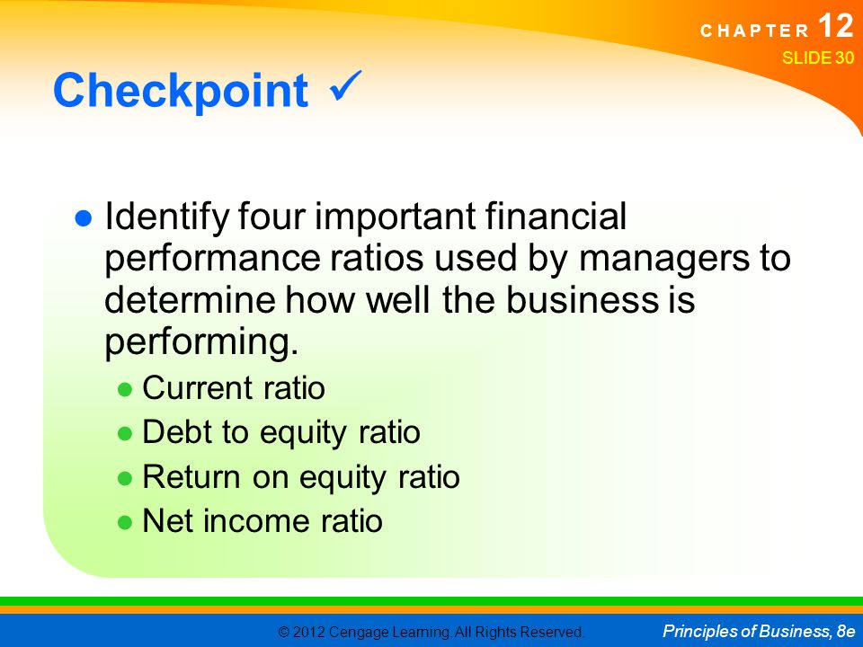 Checkpoint  Identify four important financial performance ratios used by managers to determine how well the business is performing.