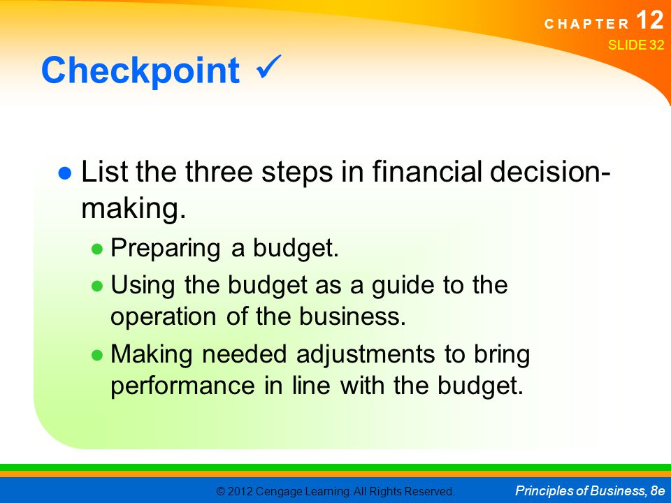 Checkpoint  List the three steps in financial decision-making.