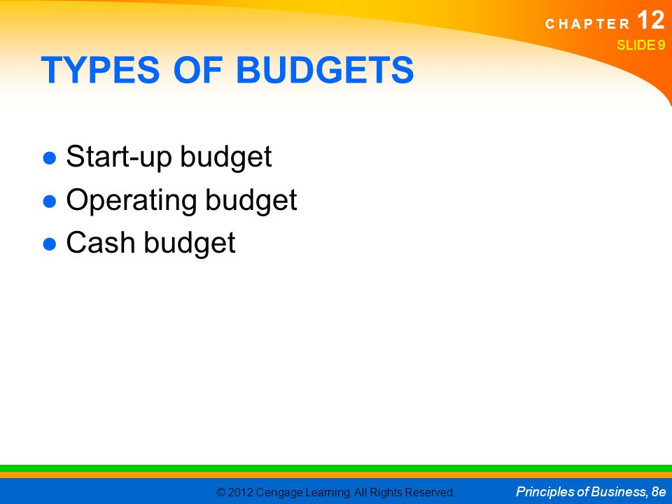 TYPES OF BUDGETS Start-up budget Operating budget Cash budget