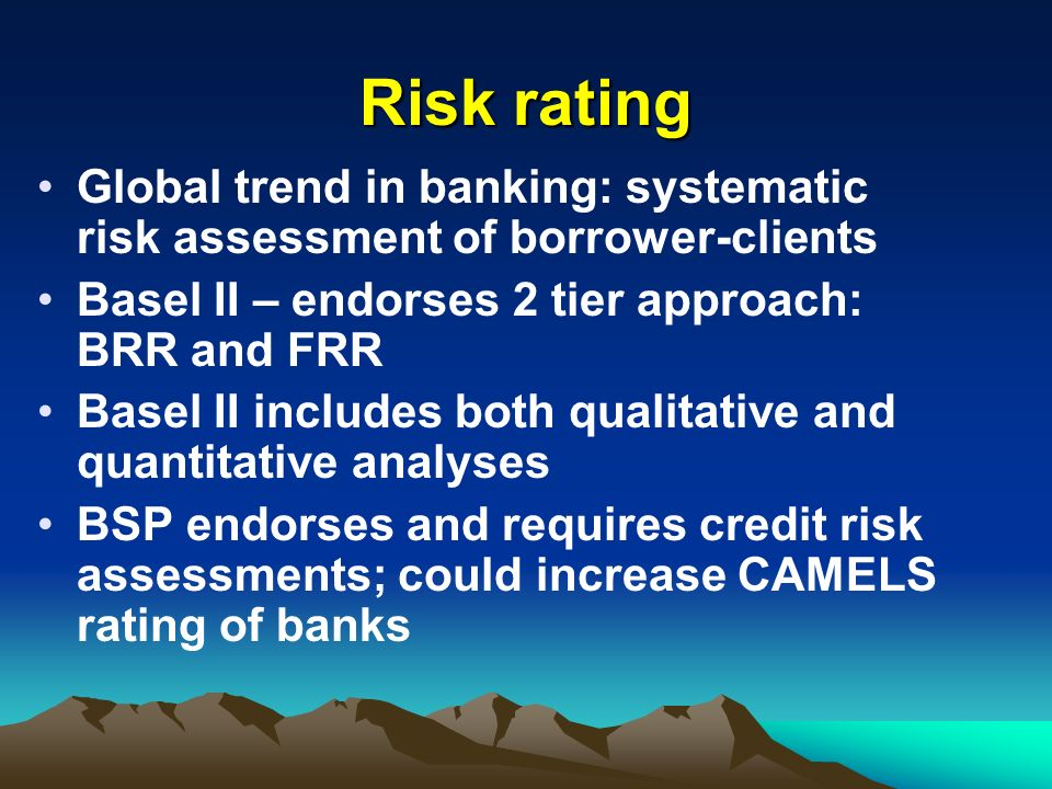 Risk rating Global trend in banking: systematic risk assessment of borrower-clients. Basel II – endorses 2 tier approach: BRR and FRR.