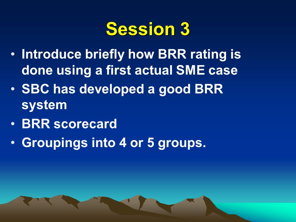 Session 3 Introduce briefly how BRR rating is done using a first actual SME case. SBC has developed a good BRR system.