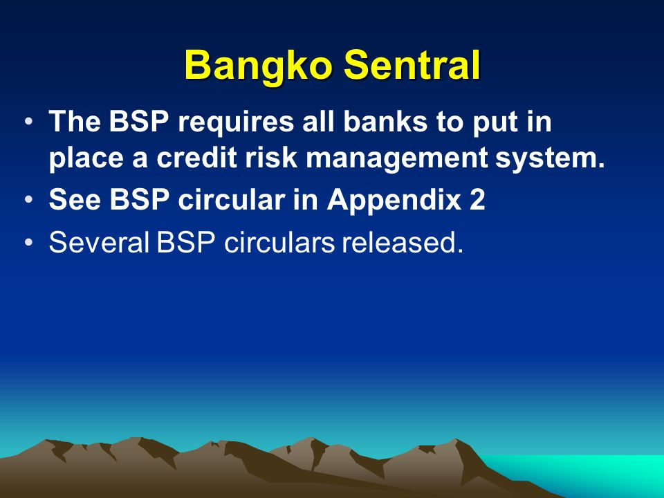 Bangko SentralThe BSP requires all banks to put in place a credit risk management system. See BSP circular in Appendix 2.